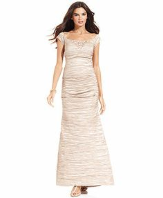 if we could find this in plum or eggplant  Alex Evenings Dress, Off-the-Shoulder Beaded Crinkled Taffeta Gown