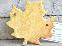 Hand cut and painted, this salt dough leaf ornament is clear yellow, fading to a darker hue on one side. Leaf veins faintly show, not detracting from the beautiful yellow of this leaf. Handmade Ornaments, Handmade Gifts, Fall Shows, Salt Dough Ornaments, Green And Brown, Christmas Crafts, Leaves, Hand Painted, Crafty