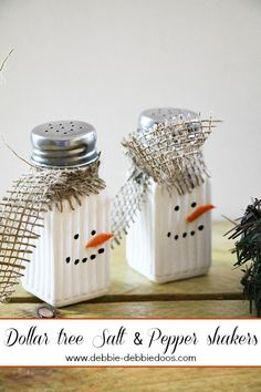 Dollar tree Snowman salt and pepper shakers. #debbiedoos