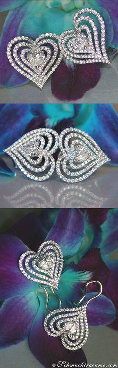 Grand Diamond Heart Earrings, 1,14 cts.g-si WG18K - Visit: schmucktraeume.com - Like: https://www.facebook.com/pages/Noble-Juwelen/150871984924926 - Contact: info@schmucktraeume.com