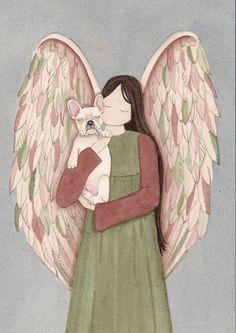 French  Bulldog and  Angel / Lynch signed folk art print #folkart
