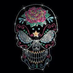 Evil Sugar Skull Day of the Dead Sparkling Rhinestuds Rhinestones WOMANS T Shirt 15619