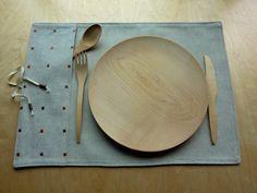 Napperon lunch 100 lin naturel et broderie par LesEtoffesdInterieur Creations, Orange, Etsy, Placemat, Linens, Wool, Embroidery