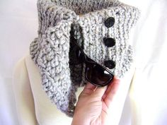 Crocheted Pocket Cowl Pattern  Great For by sheilalikestoknit,