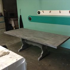 Layered Superior Paint Co. Little White and Greystokes wash harvest table makeover