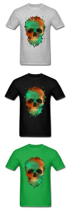 Geometry Reconstruction Skull 2018 Funky Hipster Art Design Men Tees Cotton Tops Short Sleeve T-shirts Slim Fit