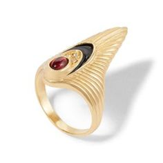 Erte Ring Art Deco Ring, Art Deco Jewelry, Gold Jewelry, Jewelry Design, Jewellery, Phoenix Necklace, Holiday Jewelry, Art Deco Era, Black Enamel