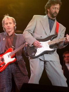 Mark Knopfler and Eric Clapton at the Mandela concert