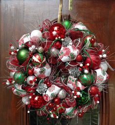 Traditional Christmas Deco Mesh Wreath by HertasWreaths on Etsy, $155.00