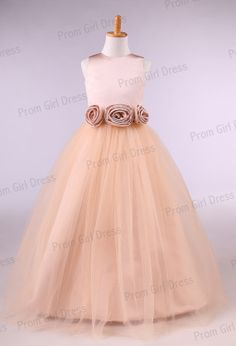 Jewel tulle with sash and flowers flower girl by promgirldress, $36.00