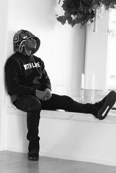 Future Hendrix wearing  Balmain Slim Fit Waxed Denim Biker Jeans, Represent Karrueche With Love Crew Sweater, Bape 1st Camo Shark Pullover Hoodie, Adidas Yeezy Boost 750 Season 2 Men