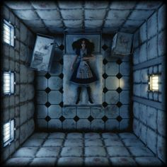 f npc Insane padded room story med Alice Liddell, Alice Madness Returns, Arte Horror, Horror Art, Dark Fantasy, Go Ask Alice, Were All Mad Here, Through The Looking Glass, Storyboard