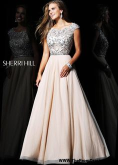 Cap Sleeves Nude Silver Beaded Fitted Top Sherri Hill 21053 Prom Dress - Long Dresses - Dresses by Styles