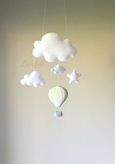 Baby mobile - cloud mobile - hot air balloon mobile by lovefeltmobiles on Etsy https://www.etsy.com/listing/290081231/baby-mobile-cloud-mobile-hot-air-balloon