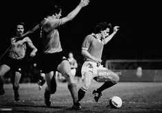 Manchester United winger Steve Coppell (right) evades two St Etienne defenders during the European Cup Winners Cup 1st round 2nd leg match played at Home Park in Plymouth. This match was played at a neutral venue after crowd trouble during the first leg in France had initially caused UEFA to expel Manchester United from the competition. However on appeal they changed this ruling and ordered the match to be played a minimum of 300km from Old Trafford. Manchester United won 2-0 and 3-1 on…