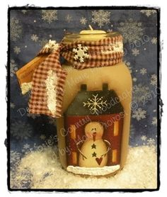 Hand painted PDF pattern Painting pattern by MariesEpatternShop Warm Winter Nights Candle Jar holder Mason Jar Projects, Mason Jar Crafts, Bottle Crafts, Mason Jars, Christmas Jars, Winter Christmas, Christmas Decorations, Primitive Crafts, Primitive Christmas
