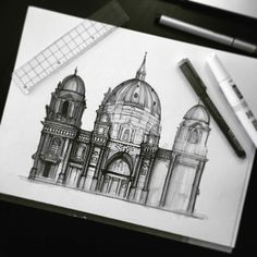 Filling in. The multiliner is the best thing eeeeeever Architectural Sketches, Copic, Big Ben, Sketching, Cathedral, Berlin, Artsy, Good Things, Architecture
