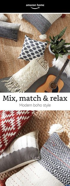 Discover your modern boho style by mixing and matching textured pillows. Discover more home decor ideas at Chinoiserie, Unique Ceiling Fans, Diy Home Decor, Room Decor, Modern Boho, Fashion Room, New Room, Apartment Living, Decoration