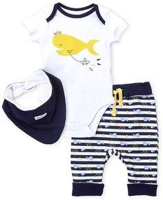 Absorba (Newborn Boys) 3-Piece Fish Bodysuit & Stripe Pants Set #ad #newbornoutfit