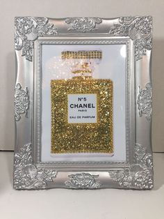 CHANEL NO 5 PERFUME BOTTLE BLING PRINT IN SILVER ORNATE PICTURE FRAME POP ART #POPART