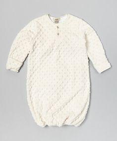 Look at this #zulilyfind! Cream Minky Dot Velour Gown - Infant by My Blankee #zulilyfinds
