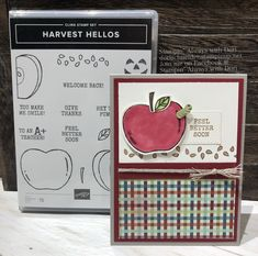 card apple apples SU Harvest Hellos Stampin Up, This is a super cute bundle that will be featured in the new Holiday catalog. Apple Boxes, Simply Stamps, Teacher Cards, Scrapbook Cards, Scrapbooking, Stampin Up Catalog, Thanksgiving Cards, Get Well Cards, Fall Cards