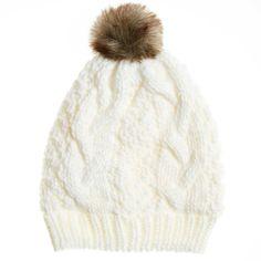 Gorro con forro de tejido polar y pompón                                                                                                                 blanco nieve Mujer