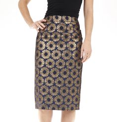 ♥ NEW Blue Gold Flower Floral Jacquard Pencil Skirt Metallic 8 10 12 14 16 ♥ New Blue, Pencil Skirts, Gold Flowers, Blue Gold, Metallica, High Waisted Skirt, Sparkle, Floral, Shopping
