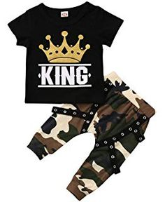 a8279c85330 Toddler Baby Boy Clothes King Short Sleeve Black T-Shirt +Camo Pants  Outfits Tops