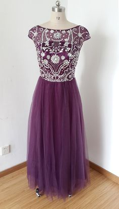 2015 Cap Sleeves V-back Grape Tulle Beaded Long by DressCulture