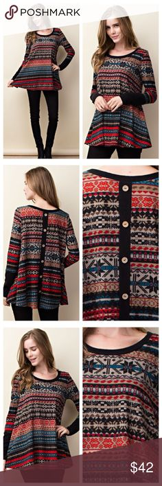 """Snowflakes and Cuddles Long Sleeve Get Cozy in this Snowflake Tribal Patterned Long Sleeve Top! Cute Buttons Running Down the Back, Solid Wrist Cuffs, and a Rounded Neckline. Has a Loose Comfortable Cozy Fit. Perfect to Pair with Leggings. Made in the USA!    Material: 96% Poly 4% Spandex  Measurements: Small: B-17"""" L-29.5"""" Medium: B-18"""" L-30"""" Large: B-29"""" L-30.5"""" Tops Tees - Long Sleeve"""