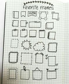 Bullet journal and planner doodles, frames for doodling and writing.