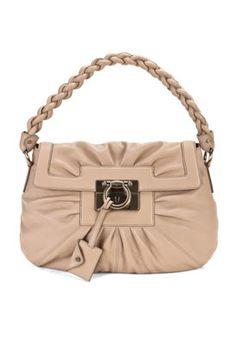 Salvatore Ferragamo ~  Beige Leather Shoulder Bag