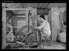 Mrs. Patrick Dumond | weaving toweling in the attic | the French-Canadian Dumonds owned a small farm | Lille, Aroostook County, Maine, U.S.A. | 1940 | Jack Delano: photographer