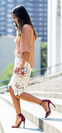 Keepsake - white lace pencil skirt