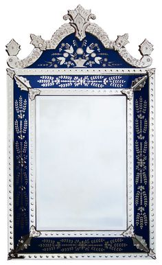 Gorgeous , large, Venetian Mirror. Love this blue!