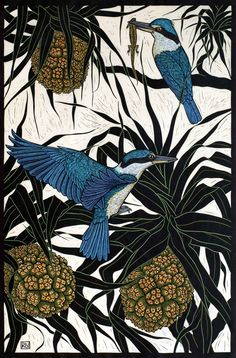 'Sacred Kingfisher' by Rachel Newling. Hand-coloured linocut on handmade Japanese paper. Rachel is an established artist from Sydney, specialising in hand coloured & reduction linocut, mixed media engraving & unique pastel drawing.