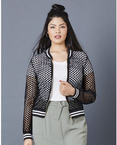 Plus Size Fishnet Bomber Jacket
