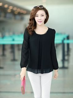 (7.91$)  Know more - http://aipwx.worlditems.win/all/product.php?id=G0397B-M - New Fashion Women Chiffon Blouse Long Sleeve Round Neck Pleated Shirt Loose Tops Black