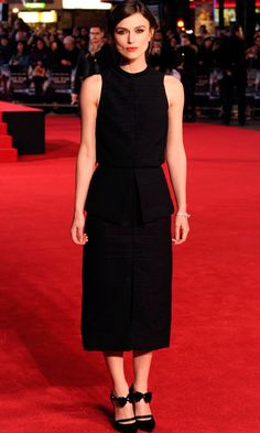 Love Kiera Knightley's black shoes with a feminine detail