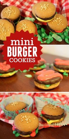 Mini Burger Cookies -- A fun recipe craft for kids! These cookies look exactly like little burgers!