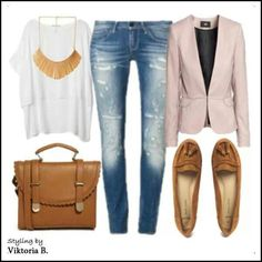 Baggy t under fitted blazer ripped jeans and tan accessories