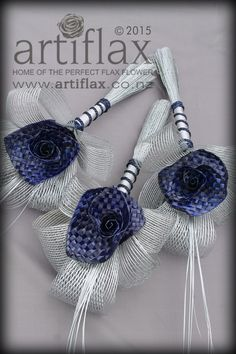 Navy woven flax flowers with authentic Hapene flax foliage.  Flax bridal bouquet handmade in New Zealand by Artiflax