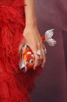 Koi Fish minaudiere (Judith Leiber, accessorized by actress Blake Lively) Fish Fashion, Fashion Bags, Fashion Beauty, Fashion Accessories, Blake Lively, Judith Leiber, Bling Bling, Age Of Adaline, Koi Carp