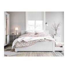 BRUSALI Cadre de lit+4boîtes de rangement - 160x200 cm, Leirsund - IKEA