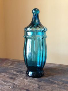 Lovely Mid Century Jar  Peacock Blue Italian Glass by StylishPiggy, $18.00