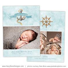 Newborn Birth Announcement Templates for Photographers #photography #photoshop #templates #baby #newborn #card #nautical