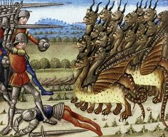 Alexander the Great vs. many-eyed dragons Miroir du Monde, Normandy before 1463 Bodleian Library, MS. Douce 336, fol. 104r