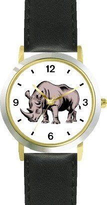 Rhinoceros African Animal - WATCHBUDDY® DELUXE TWO-TONE THEME WATCH - Arabic Numbers - Black Leather Strap-Children's Size-Small ( Boy's Size & Girl's Size ) WatchBuddy. $49.95