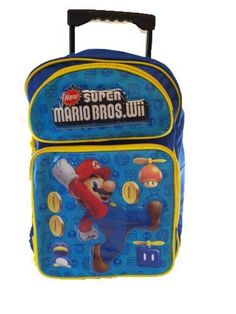 """Mariokart Wii Large Backpack    Price: $16.25        *Full size large backpack measures 15""""H x 12""""W x 5""""D  *Front zipper pocket for small accessories and supplies  *Two mesh pockets on the sides of the bag.  *Adjustable padded shoulder straps, Padded soft back panel               http://nintendomariokartwiilargebackpack.hotproductsinusa.com"""